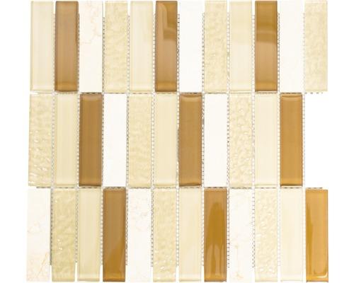 Glasmosaik mit Naturstein XCM MS836 30,4x32,2 cm braun/weiß/beige