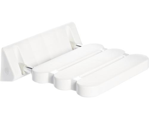 Duschsitz klappbar Comfort weiß mit poliertem Gestell
