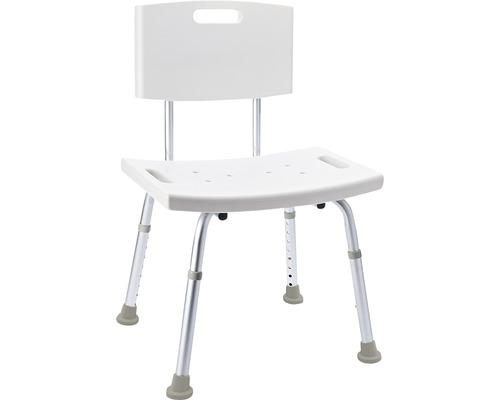 Badstuhl mit Rückenlehne weiß höhenverstellbar