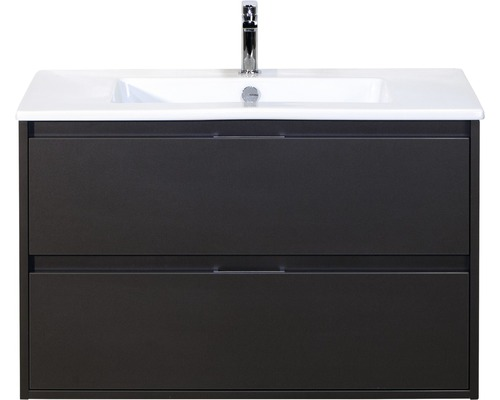 Badmöbel-Set Porto 90 cm mit Keramikwaschtisch Quarz Lava