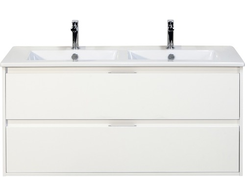 Badmöbel-Set Porto 120 cm mit Doppelwaschtisch Keramik 2 Schubladen weiß hochglan