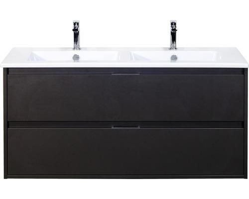 Badmöbel-Set Porto 120 cm mit Doppelwaschtisch Keramik Quarz Lava