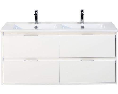 Badmöbel-Set Porto 120 cm mit Doppelwaschtisch Keramik 4 Schubladen weiß hochglanz