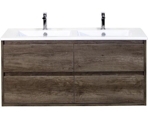 Badmöbel-Set Porto 120 cm mit Doppelwaschtisch 4 Schubladen Keramik Nebraska Eiche
