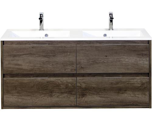 Badmöbel-Set Porto 120 cm mit Doppelwaschtisch 4 Schubladen Nebraska Eiche