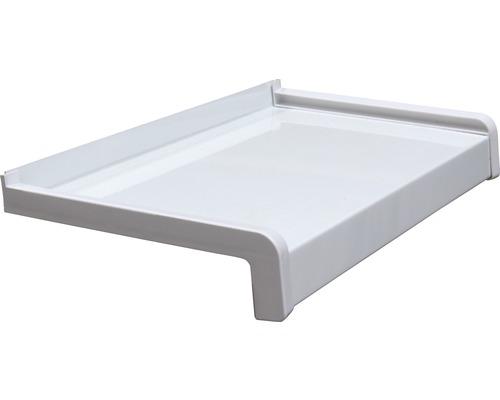 Fensterbank Alu weiß 85x22,5 cm inkl. Kunststoff-Seitenabschluss (re+li) und Montageschrauben