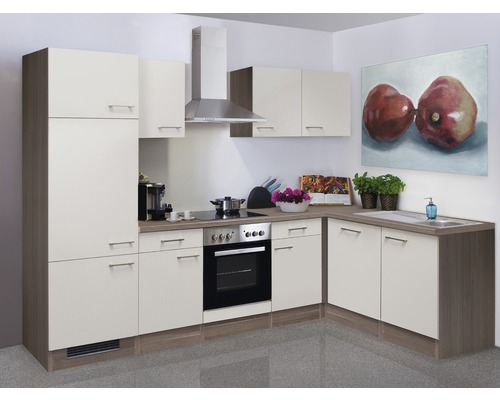 Winkelküche Eico 280x170 cm inkl. Einbaugeräte magnolienweiß