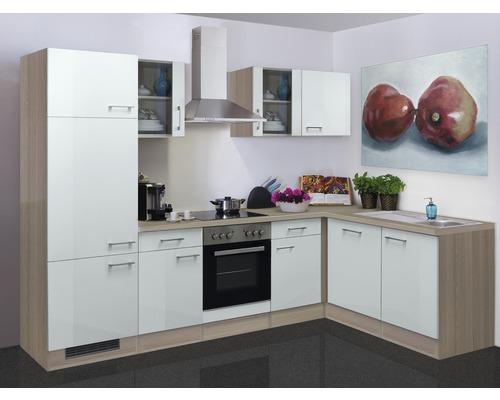 Winkelküche Abaco 280x170 cm inkl. Einbaugeräte perlmutt glänzend