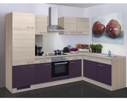 Winkelküche Focus 280x170 cm inkl. Einbaugeräte akazie-dekor/aubergine