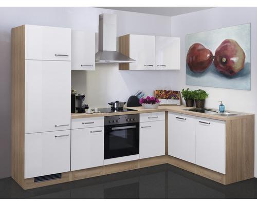 Winkelküche Valero 280x170 cm inkl. Einbaugeräte weiß glänzend/sonoma eiche